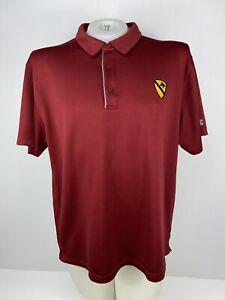 1st Calvary Division Under Amour Polo Collard Shirt Burgundy Mens Size 2XL