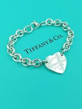 "Genuine Return To Tiffany & Co Silver Heart Tag Bracelet 7.25"" Great Condition"