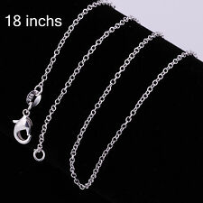 """50PCS 925Sterling Silver Solid Silver Smart Chain Necklace 1MM 18""""  ZC001"""