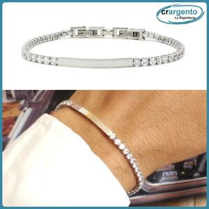 bracciale da uomo tennis con zirconi brillantini in acciaio inox braccialetto