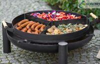 Korono Grill Holzkohlegrill Standgrill Gartengrill + Feuerschale + Grillpfanne