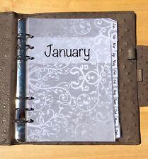 Filofax A5 Organiser Planner - Silver Design Monthly Dividers Jan-Dec  Laminated