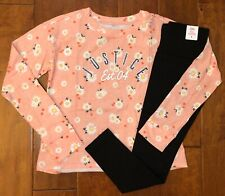 NWT JUSTICE GIRLS 8 10 12 OUTFIT~CORAL LOGO LONG SLEEVE TEE & BLACK LEGGINGS