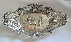 Antique Hanau Hand-Wrought Repousse Silver Butter Dish Tray Courting Scene