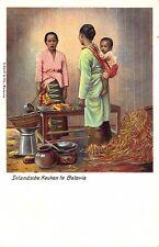 Inlandsche Keuken Te Batavia Tinted Real Photo Rppc Postcard