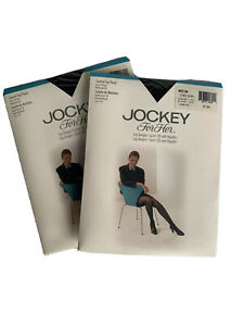 2 Jockey For Her Sheer Comfortable Day Sheer Pantyhose Med Tux Blk Control Top