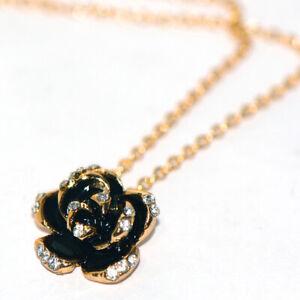Black Rose Flower Womens Pendant Chain Necklace 9K Gold Filled Crystal Choker