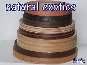 Iron on Edging Pre Glued Real Exotics Wood Veneer Edge Banding Tape 22, 40, 50mm