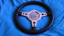 "MOTO-LITA  13"" MK4 POL LEATHER RIM FLAT STEERING  WHEEL, MG, A.H SPRITE , LOTUS"