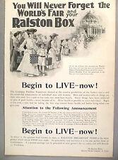 Ralston Breakfast Cereal PRINT AD - 1904 ~ Ralston Box at St. Louis World's Fair