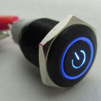 NEU 16mm 12V Auto KFZ Schalter Drucktaster Taster Druckschalter Beleuchtet Blau