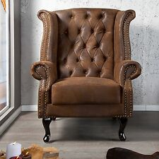 Chesterfield Antique Brown Leather Royal Wing Back Chair Good