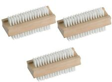 3 x WOODEN NAIL BRUSH FOR MANICURE PEDICURE CLEANING BRISTLES Special Offer