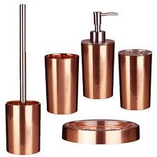 Set of 5 Shine Rose Gold Bathroom Accessory Organisers Dispenser Tumbler Holder