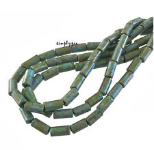 Turquoise Picasso Aged Bugle Czech Glass Beads Ten-Inch Long Strand/34B Tube