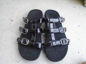 Vionic MISA Size 8 Women's Black Patent Leather Adjustable Slide Sandals