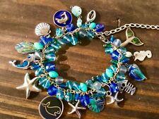 Ocean Sea life Dolphin Whale Charm Bracelet beach wedding bridal blue jewelry