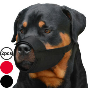 Nylon Dog Muzzle Set 2PCS Rottweiler Newfoundland Secure Adjustable Mouth Cover