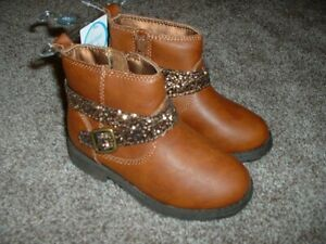 Carter's Cathy Brown Glitter Strap Buckle Ankle Boots Toddler Girls Size 8 NWT