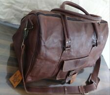 Triangle duffle Travel gym Men's genuine Leather large weekend overnight bag