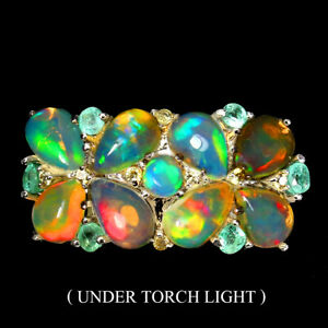 Unheated Pear Fire Opal Rainbow 6x4mm Emerald 925 Sterling Silver Ring Size 8