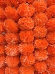 Diwali Decoration Orange Marigold Artificial Vine Wall Hanging Deco Garland 50Pc