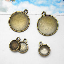 40PCS Antiqued Bronze 12mm Round Cabochon Setting Pendants Blank #23160