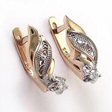 Russian Style Jewelry 18k Rose & White Gold Genuine Diamond Earrings #E950.