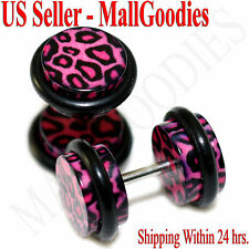 1248 Fake Cheater Illusion Faux Plugs Pink Leopard Cheetah Spots Print 0G 8mm