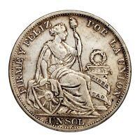 1894 TF Peru Un Sol Silver Coin (Extra Fine, XF Condition) KM# 196.26