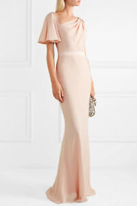Alexander McQueen Draped Satin-Trimmed Crepe Gown Size:38/2  $2895 NWT