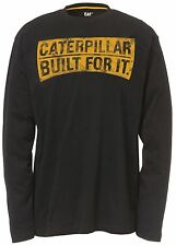 Caterpillar Cat® apparel Mens Work T-Shirt Curved Banner Long Sleeve 100% Cotton