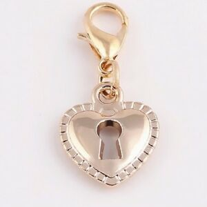 LOVELY  ROSE GOLD HEART WITH LOCK IN  CLIP ON CHARM FOR BRACELETS - R/G/ PLATE