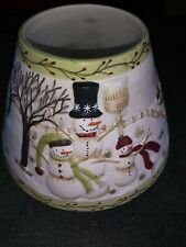 YANKEE CANDLE Large WINTER Holiday Shade/plate  Candle Topper w/Snowman