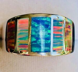 HANDSOME Wide Windows Ring Blue Red Green Opal Sterling Silver 8 Men Q Unisex
