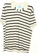 Lands End Traditional Fit Mens Grey Stripe 100% Cotton Short Sleeve Polo Shirt L