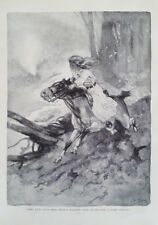 1913 Original Vintage I.W. Taber Drawing Illustration - Little Girl Riding Horse