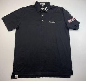 Peter Millar Canon Polo Shirt FJ Titleist Logo Footjoy Golf Mens Medium M Black