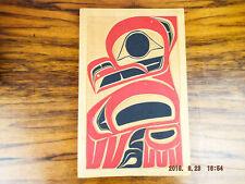 Vintage Indigeneous Pacific North West Cedar Carved Plaque Colored Owl R Adams