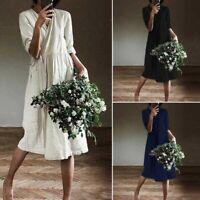 ZANZEA Womens Long Sleeve V Neck Cotton Dress Ladies Casual Loose Midi Dresses