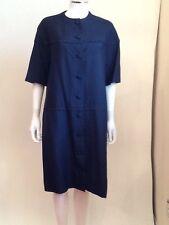 I Magnin Navy Blue Raw Silk Short Sleeve Button Front Shirt Dress Jacket M - L