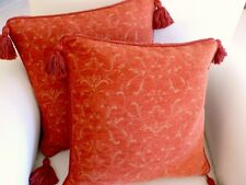 Pair LAURA ASHLEY Burnt Orange Chenille Raised Floral Jacquard Cushion Covers UK