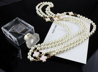 Multi-Layer & Single Long Chain Pearl Bead Women Charm Necklace Valentine's gift