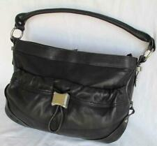 B MAKOWSKY BIKER BL  LEATHER CHROME COLOR STUDS GATHERS SHOULDER  BAG      EUC