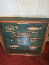 Vintage American Angling Fishing Shadow Box Wood Fish, Lures replica pole