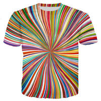 Womens/Mens Hypnosis Colorful Tie-dye Line Funny 3D Print Casual T-Shirt Tee T42