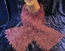 Super Fur Hand Knitted Fluffy Scarf Purple
