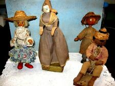 Lot of 4 Vintage Wood Folk Art Dolls 1940's? Assorted makers and countries