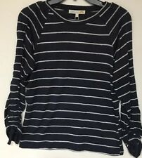 C&C California Women's Navy/White Stripe Ruched Tie Long Or 3/4 Sleeve , SM, New