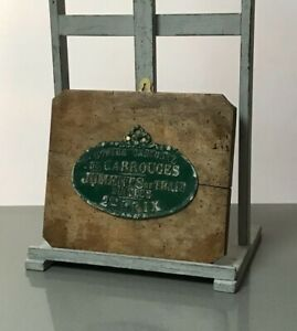 VINTAGE FRENCH AGRICULTURAL PLAQUE. MOUNTED ON A DISTRESSED FRENCH TEAK BOARD.